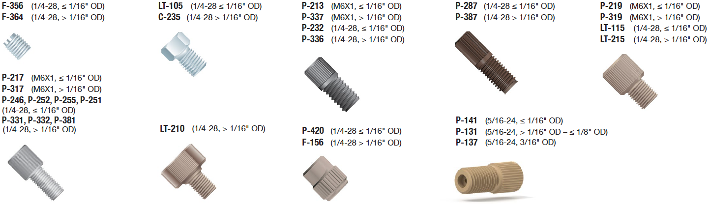 "Super Flangeless Fittings: M6x1, 1/4-28, 5/16-24 Options for 1/32"" – 3/16"" OD Tubing"