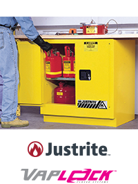 Safety Cabinet, Justrite and Vaplock Logo