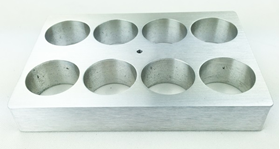 Aluminum block holder for 8 vials