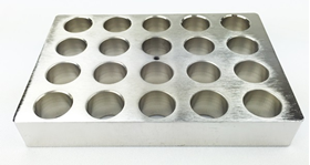 Aluminum block holder for 20 vials