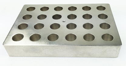 Aluminum block holder for 24 vials