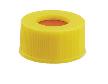 "Picture of 408455 - 8mm Screw Cap, .045"" PTFE/SIL 100/pk, Yellow"