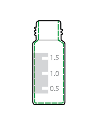 Picture of CP-0955GS - 2 mL Vial, 9 mm w/ Grad Spot, PTFE/Sil w/slit Cap, 100/pk